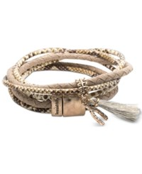 Lonna And Lilly Gold Tone Pave Wishbone Tassel Magnetic Wrap Bracelet Ivory