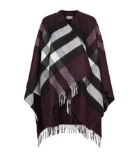 Burberry Shoes And Accessories House Check Wool Cashmere Cape Female Purple