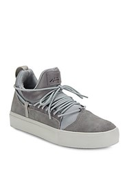 Article Number Suede And Full Grain Leather Platform Sneakers Grey