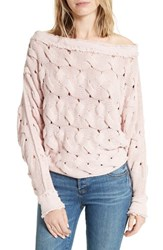Free People Women's Desert Sands Cable Pullover Rose