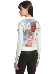 Php Hand Painted Slim Glove Leather Jacket
