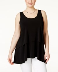 Alfani Plus Size Tiered Overlay Tank Top Only At Macy's Deep Black
