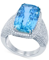 Lali Jewels Swiss Aquamarine 10 Ct. T.W. And Diamond 1 1 4Ct. T.W. Ring In 18K White Gold