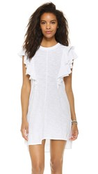Wilt Raw Double Ruffle Tee Dress White