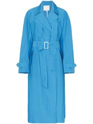 Tibi Long Sleeved Belted Trench Coat Blue