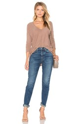 Bobi Cotton Slub V Neck Dolman Long Sleeve Tee Brown
