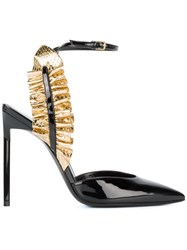 Saint Laurent Edie Ruffle Ankle Strap Sandals Black
