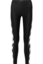 Off White Striped Stretch Leggings Black