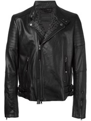 Diesel Black Gold Stud Detail Zip Up Jacket Black