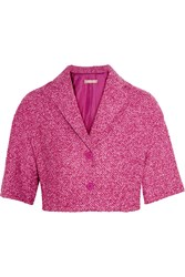 Michael Kors Cropped Wool Blend Boucle Jacket Pink