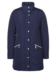 Dash 3 4 Chevron Heavy Quilted Coat Blue