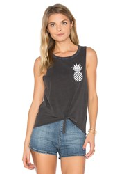Chaser Pineapple Tie Front Muscle Tee Charcoal