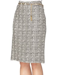 Tahari By Arthur S. Levine Textured Belted Pencil Skirt Ivory Black