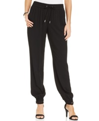 Style And Co. Petite Jogger Soft Pants Deep Black