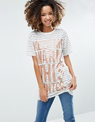 Asos Christmas T Shirt With Keep Me Warm Metallic Print Multi