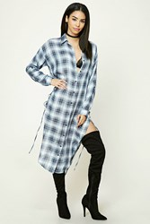 Forever 21 Longline Plaid Shirt Dress
