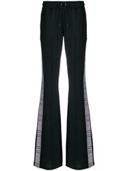 Versus Checked Stripe Flared Trousers Black
