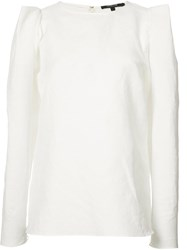 Derek Lam Structured Shoulders Blouse Women Linen Flax Polyester 40 White
