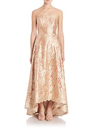 Theia Strapless Floral Lace Ball Gown Gold