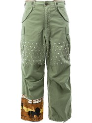 Comme Des Garcons Junya Watanabe Studded Flared Trousers Green