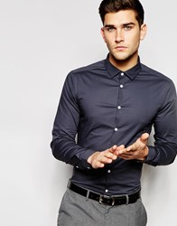 Asos Skinny Shirt In Charcoal With Long Sleeve Grey
