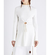 Rosie Assoulin High Neck Hole Detail Wool Top Cream