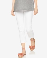 A Pea In The Pod Maternity Cropped White Wash Skinny Jeans