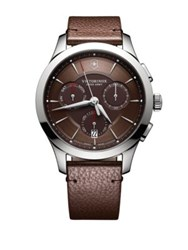 Victorinox Stainless Steel Leather Chronograph Brown