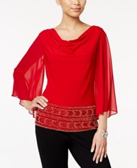 Msk Beaded Cowl Neck Blouse Red