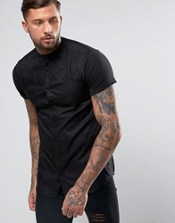 Sik Silk Siksilk Shirt With Jersey Sleeves In Skinny Fit Black