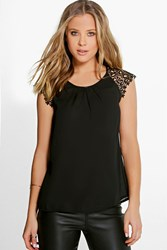 Boohoo Crochet Lace Panel Blouse Black