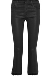 J Brand Selena Cropped Coated Mid Rise Bootcut Jeans Black