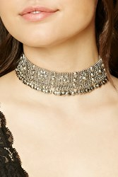 Forever 21 Floral Ball Chain Choker Antique Silver