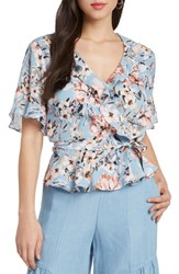 Willow And Clay Print Floral Peplum Wrap Top French Blue