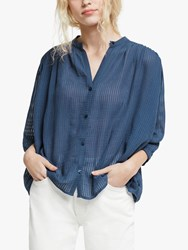 And Or Kate Textured Stripe Shirt Ink Blue