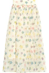 Vilshenko Holly Floral Silk Organza Skirt Pastel Yellow