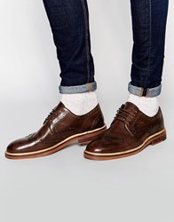Asos Brogue Shoes In Brown Leather With Heavy Sole Brown