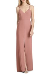 Lela Rose Bridesmaid V Neck Crepe Mermaid Gown Desert Rose