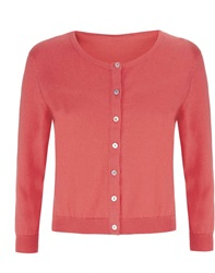 Havren Cropped Crew Neck Cardigan Orange
