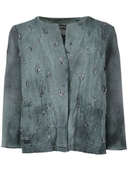Avant Toi Distressed Overdyed Knitted Jacket Women Cotton Linen Flax Polyamide Cashmere L Green