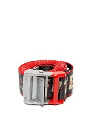 Off White Industrial Logo Jacquard Belt Dark Grey