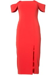 Jay Godfrey Off Shoulders Midi Dress Red
