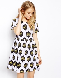 Asos Skater Dress In Elephant Print Whiteprint
