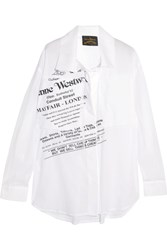 Vivienne Westwood Anglomania Nomad Printed Cotton Voile Shirt White