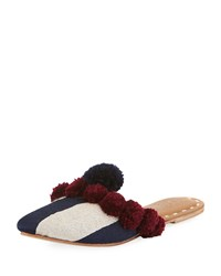 Figue Striped Pompom Flat Mule Slide Dark Blue