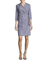 Lafayette 148 New York Floral Printed Cotton Dress Cobalt Multicolor