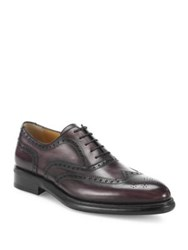 A. Testoni Bicolor Wingtip Delave Calf Oxfords Burgundy