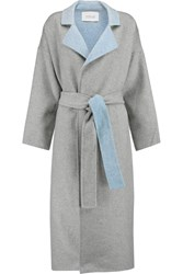 10 Crosby By Derek Lam Reversable Wool Blend Felt Trench Coat Gray