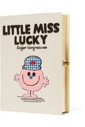 Olympia Le Tan Little Miss Lucky Appliqued Cotton Faille Clutch Cream
