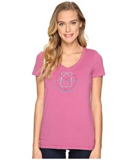 Arc'teryx Cam Short Sleeve V Neck Calluna Women's Clothing Pink